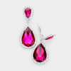 Fuchsia Crystal with Rhinestone Trim Clip On Earrings | 412433