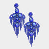 Long Sapphire Crystal and Rhinestone Statement Earrings | 364519