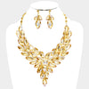 Marquise Oval Gold Crystal Cluster Pageant Evening Necklace | 380644
