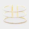 3 Row Split Layer Round AB Crystal Cuff Bracelet on Gold | 397424