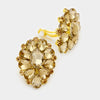 Gold Crystal Flower Clip On Earrings Gold | 347080
