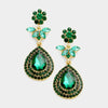 Emerald Crystal Flower Teardrop Earrings | 361001