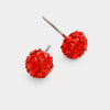 Little Girls Red Crystal Ball Stud Earrings | 103865