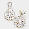 Large Crystal Pageant Earrings on Gold | Clip On | 309821