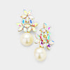 AB Crystal Flower Pearl | Flower Girl Earrings on Gold | 382488