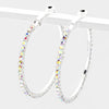AB Crystal Rhinestone Hoop Earrings | 1.75"