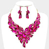 Geometric Fuchsia Crystal Cluster Pageant Necklace | 411582