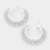 Three Row Rhinestone Hoop Earrings | 1.5"