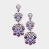 Purple Crystal Dangle Earrings | Lauren | 201120