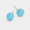 Little Girls Aqua Crystal Ball Stud Earrings | 103870