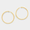 Gold Textured Clip On Hoop Earrings | 1.75"