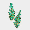 Emerald Crystal Teardrop Cluster Pageant Homecoming Earrings | 397105