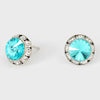 Teal Blue Stud Earrings 0.5"