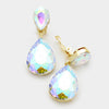 Little Girls Clip on AB Teardrop Earrings on Gold | 334672