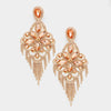 Very Large Peach Crystal Flower Fringe Earrings | 368832