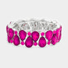 Double Row Fuchsia Crystal Teardrop Stretch Bracelet | 389025