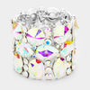 Wide Multi Shape AB Crystal Stone Stretch Pageant Bracelet | 398328