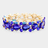 Royal Blue Teardrop Crystal Pageant Bracelet with AB Stones | 412415
