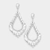 Oversized Cut Out Crystal Teardrop Earrings | 368844