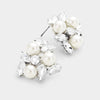 Pearl Oval Crystal Cluster Stud Earrings | 366827