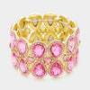 Double Teardrop Pink Crystal Stretch Bracelet | 336931