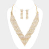 Rhinestone V Necklace with Earrings on Gold | 341508