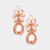 Little Girls Floral Peach Crystal Teardrop Earrings | 383089