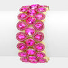 Fuchsia triple-row glass crystal stretch evening bracelet | 326168