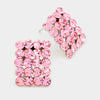 Light Pink Rectangle Stud Earrings | Austrian Crystal | 70751