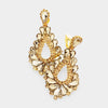 Cut Out Gold Crystal Clip On Teardrop Chandelier Earrings | 418314