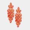 Long Orange Crystal Marquise Earrings on Gold | 437504