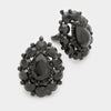 Large Black Crystal Teardrop Stud Clip On Earrings | 284061