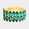 Emerald Crystal Teardrop Cluster Stretch Bracelet | 381802