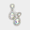 Little Girls Double AB Crystal Teardrop Clip On Earrings | 379523