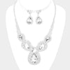 Crystal Rhinestone Pave Crystal Teardrop Bib Necklace | 382094