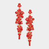 Red Crystal Long Dangle Earrings on Gold | 294867