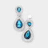 Little Girls Teal Double Crystal Teardrop Clip On Earrings | 398728