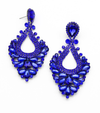 Large Sapphire Crystal Statement Pageant Earrings