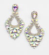 Large AB Crystal Statement Pageant Earrings Silver  | 476310