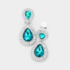 Little Girls Double Aqua Crystal Teardrop Clip On Pageant Earrings