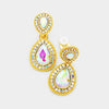 Little Girls Double AB Crystal Teardrop Clip On Pageant Earrings