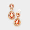Little Girls Double Peach Crystal Teardrop Clip On Pageant Earrings