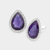 Purple Teardrop Crystal and Rhinestone Clip On Stud Earrings