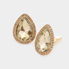 Gold Teardrop Crystal and Rhinestone Clip On Stud Earrings