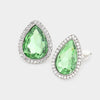 Green Teardrop Crystal and Rhinestone Clip On Stud Earrings