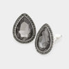 Black Teardrop Crystal and Rhinestone Clip On Stud Earrings