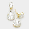 Clear Crystal Double Teardrop Clip On earrings