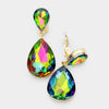 Multi-color Crystal Double Teardrop Clip On earrings