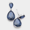 Blue Crystal Double Teardrop Clip On earrings