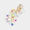 AB Crystal Leaf Clip On Stud Earrings on Gold